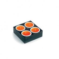 4 Keramik Kerzenhalter mit Kerze Farbe. Präsentationsbox