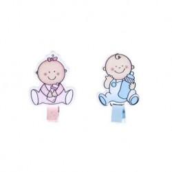 Packung mit 6 Zangen Holzdekor Baby