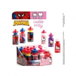 Hallo Kitty Flasche + Spiderman + Süßigkeiten