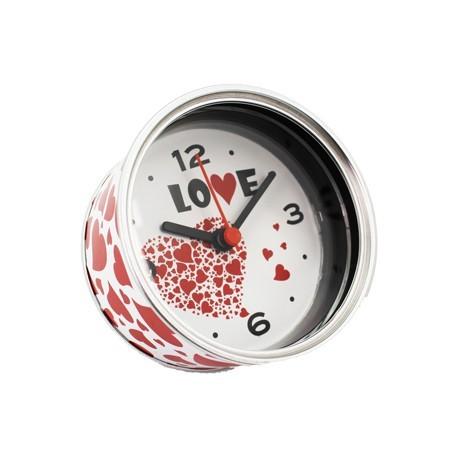"""Aluminium-Uhr """"LOVE"""" Geschenk überreicht in Dosen"""