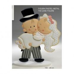 Metallfigur Pastell Pit & Pita Braut in seine Arme 26cm