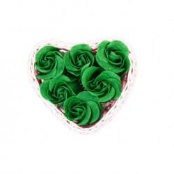 Wicker Herz kleinen Korb mit 6 Seife Blumen