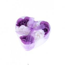6 Soap Blumen im Fall Herz mit Bogen vorgestellt