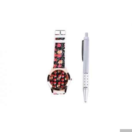 Blumenuhr + Stift Geschenk-Box